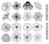 set of flowers  black and white ... | Shutterstock . vector #648214324