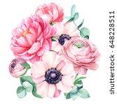 bouquet of beautiful flowers ... | Shutterstock . vector #648228511