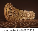 six virtual coins bitcoins on... | Shutterstock . vector #648229114