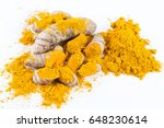 turmeric roots isolated on... | Shutterstock . vector #648230614