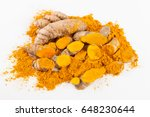 turmeric roots isolated on... | Shutterstock . vector #648230644