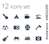 set of 12 outdoor icons set... | Shutterstock .eps vector #648231205