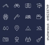 set of 16 outdoor outline icons ... | Shutterstock .eps vector #648233749