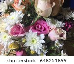 vase of roses bouquet on white... | Shutterstock . vector #648251899