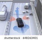 autonomous car changing lane... | Shutterstock . vector #648263401