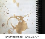 Coffee stains on blank white note book - stock photo