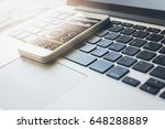 smartphone on the laptop ... | Shutterstock . vector #648288889