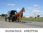 Small photo of An Amish Horse Drawn Carriage in Lancaster County, Pennsylvania
