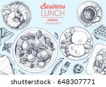 business lunch top view frame.... | Shutterstock .eps vector #648307771