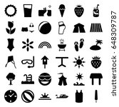 summer icons set. set of 36... | Shutterstock .eps vector #648309787