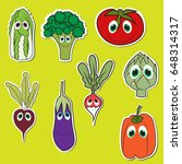 set of vegetables with eyes.... | Shutterstock .eps vector #648314317