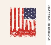 Vector illustration on a theme of New York City, Brooklyn. Vintage design.  Stylized American flag. Grunge background. Typography, t-shirt graphics, poster, banner, print, flyer, postcard - stock vector