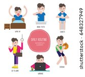 daily routine man infographic... | Shutterstock .eps vector #648327949