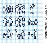 set of 9 father outline icons... | Shutterstock .eps vector #648339571