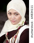 A Fashion Portrait Of A Young Beautiful Indonesian Muslim Woman with Headscarf! - stock photo