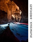 Small photo of Through this cave is the only access to the village of Cuevas del Agua, Asturias.Spain.