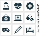 medicine icons set. collection... | Shutterstock .eps vector #648349645