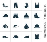 clothes icons set. collection... | Shutterstock .eps vector #648353311