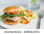 homemade hamburger with fresh... | Shutterstock . vector #648362341