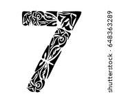 polynesian tattoo numeral. boho ... | Shutterstock .eps vector #648363289