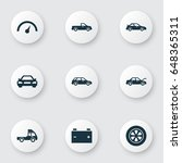 automobile icons set.... | Shutterstock .eps vector #648365311