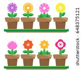 flowers in pots  isolated on... | Shutterstock .eps vector #648375121