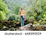 woman with backpack travel... | Shutterstock . vector #648390529