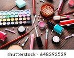 different makeup cosmetics on...   Shutterstock . vector #648392539