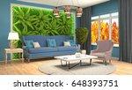 interior living room. 3d... | Shutterstock . vector #648393751