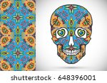 day of the dead colorful sugar... | Shutterstock .eps vector #648396001