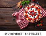 delicious strawberry pie with... | Shutterstock . vector #648401857