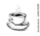 hand drawn sketch coffee cup ...   Shutterstock . vector #648419089