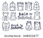 hand drawn vector set of sketch ... | Shutterstock .eps vector #648422677