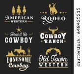 collection of retro cowboy... | Shutterstock .eps vector #648425215