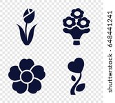 flowers icons set. set of 4... | Shutterstock .eps vector #648441241