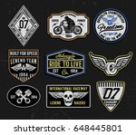 set of vintage motorcycle... | Shutterstock .eps vector #648445801