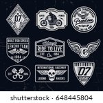 set of vintage motorcycle... | Shutterstock .eps vector #648445804