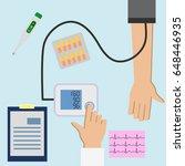 patient checking arterial blood ...   Shutterstock .eps vector #648446935