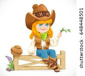 cute girl in a cowboy costume... | Shutterstock .eps vector #648448501