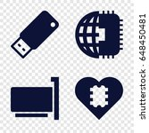 usb icons set. set of 4 usb... | Shutterstock .eps vector #648450481