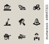 set of 9 editable building... | Shutterstock .eps vector #648457321