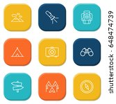 set of 9 picnic outline icons... | Shutterstock .eps vector #648474739