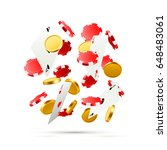 flying falling poker cards with ... | Shutterstock .eps vector #648483061
