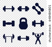 barbell icons set. set of 9... | Shutterstock .eps vector #648484801