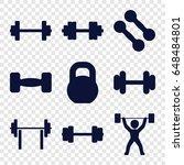 barbell icons set. set of 9... | Shutterstock .eps vector #648484801