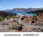 volcano tour boats parking near ... | Shutterstock . vector #648488119