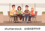 friends are sitting at a table... | Shutterstock .eps vector #648489949