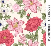 seamless pattern with flowers.... | Shutterstock .eps vector #648507739