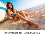 beautiful little girl and young ... | Shutterstock . vector #648508711