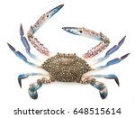 Blue Crab Isolated On White...